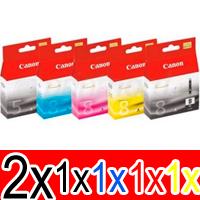6 Pack Genuine Canon PGI-5 CLI-8 Ink Cartridge Set (2BK,1PBK,1C,1M,1Y)