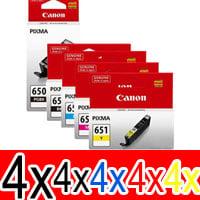 20 Pack Genuine Canon PGI-650XL CLI-651XL Ink Cartridge Set High Yield (4BK,4PBK,4C,4M,4Y)