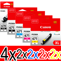 12 Pack Genuine Canon PGI-670XL CLI-671XL Ink Cartridge Set High Yield (4BK,2PBK,2C,2M,2Y)