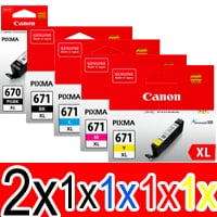 6 Pack Genuine Canon PGI-670XL CLI-671XL Ink Cartridge Set High Yield (2BK,1PBK,1C,1M,1Y)