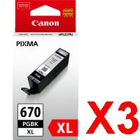 3 x Genuine Canon PGI-670XLBK Black Ink Cartridge High Yield