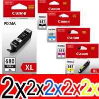 10 Pack Genuine Canon PGI-680XL CLI-681XL Ink Cartridge Set High Yield (2BK,2PBK,2C,2M,2Y)