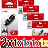 6 Pack Genuine Canon PGI-680XL CLI-681XL Ink Cartridge Set High Yield (2BK,1PBK,1C,1M,1Y)
