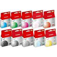 10 Pack Genuine Canon PGI-9 Ink Cartridge Set (1BK,1C,1G,1GY,1M,1MBK,1PC,1PM,1R,1Y)