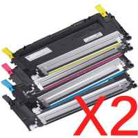 2 Lots of 4 Pack Compatible Dell 1230c 1235cn Toner Cartridge Set