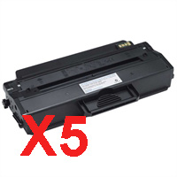 5 x Compatible Dell B1260dn B1265dnf Toner Cartridge