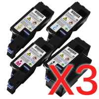 3 Lots of 4 Pack Compatible Dell C1660 C1660w Toner Cartridge Set