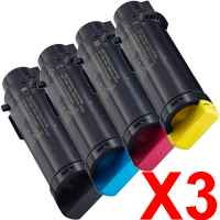 3 Lots of 4 Pack Compatible Dell H625 H825 S2825 Toner Cartridge Set
