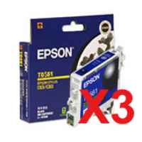3 x Genuine Epson T0561 Black Ink Cartridge