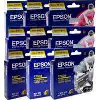 9 Pack Genuine Epson T0591 T0592 T0593 T0594 T0595 T0596 T0597 T0598 T0599 Ink Cartridge Set
