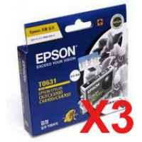 3 x Genuine Epson T0621 Black Ink Cartridge High Yield