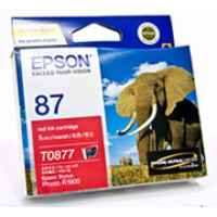 1 x Genuine Epson T0877 Red Ink Cartridge