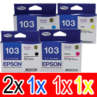 5 Pack Genuine Epson T1031 T1032 T1033 T1034 103 Ink Cartridge Set (2BK,1C,1M,1Y) Extra High Yield