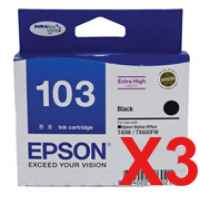 3 x Genuine Epson T1031 103 Black Ink Cartridge Extra High Yield