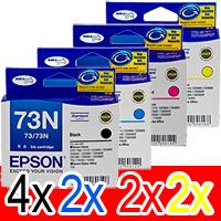 10 Pack Genuine Epson 73N T1051 T1052 T1053 T1054 Ink Cartridge Set (4BK,2C,2M,2Y)