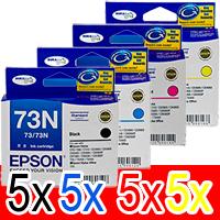 20 Pack Genuine Epson 73N T1051 T1052 T1053 T1054 Ink Cartridge Set (5BK,5C,5M,5Y)