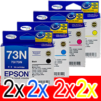 8 Pack Genuine Epson 73N T1051 T1052 T1053 T1054 Ink Cartridge Set (2BK,2C,2M,2Y)