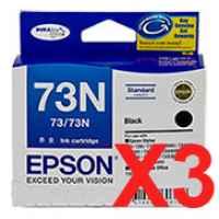 3 x Genuine Epson T0731 T1051 73N Black Ink Cartridge