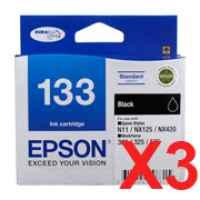 3 x Genuine Epson T1331 133 Black Ink Cartridge Standard Yield