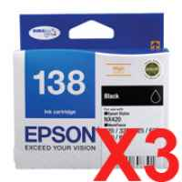 3 x Genuine Epson T1381 138 Black Ink Cartridge High Yield