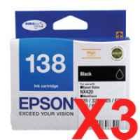 3 x Genuine Epson T1381 138 Black Ink Cartridge High Yield