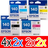 10 Pack Genuine Epson T1401 T1402 T1403 T1404 140 Ink Cartridge Set (4BK,2C,2M,2Y) Extra High Yield