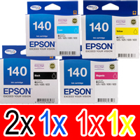 5 Pack Genuine Epson T1401 T1402 T1403 T1404 140 Ink Cartridge Set (2BK,1C,1M,1Y) Extra High Yield