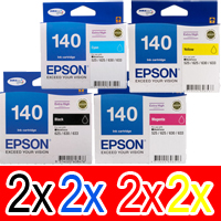 8 Pack Genuine Epson T1401 T1402 T1403 T1404 140 Ink Cartridge Set (2BK,2C,2M,2Y) Extra High Yield