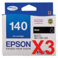 3 x Genuine Epson T1401 140 Black Ink Cartridge Extra High Yield