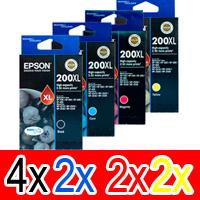 10 Pack Genuine Epson 200XL Ink Cartridge Set (4BK,2C,2M,2Y) High Yield
