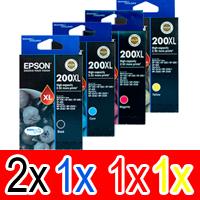 5 Pack Genuine Epson 200XL Ink Cartridge Set (2BK,1C,1M,1Y) High Yield