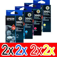 8 Pack Genuine Epson 200XL Ink Cartridge Set (2BK,2C,2M,2Y) High Yield