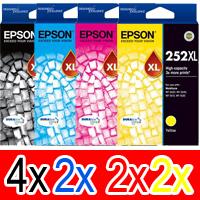 10 Pack Genuine Epson 252XL Ink Cartridge Set (4BK,2C,2M,2Y) High Yield
