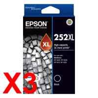 3 x Genuine Epson 252XL Black Ink Cartridge High Yield
