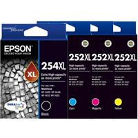 4 Pack Genuine Epson 254XL & 252XL Ink Cartridge Set (1BK,1C,1M,1Y) Extra High Yield