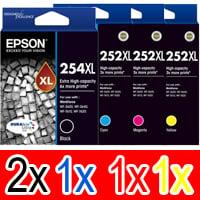 5 Pack Genuine Epson 254XL & 252XL Ink Cartridge Set (2BK,1C,1M,1Y) Extra High Yield