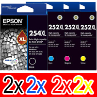 8 Pack Genuine Epson 254XL & 252XL Ink Cartridge Set (2BK,2C,2M,2Y) Extra High Yield