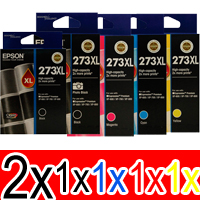 6 Pack Genuine Epson 273XL Ink Cartridge Set (2BK,1PBK,1C,1M,1Y) High Yield