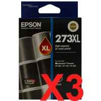 3 x Genuine Epson 273XL Black Ink Cartridge High Yield