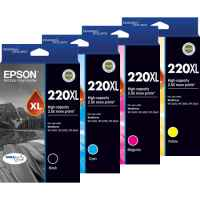 4 Pack Genuine Epson 220XL Ink Cartridge Set (1BK,1C,1M,1Y) High Yield