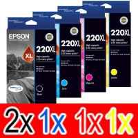 5 Pack Genuine Epson 220XL Ink Cartridge Set (2BK,1C,1M,1Y) High Yield