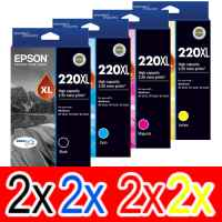 8 Pack Genuine Epson 220XL Ink Cartridge Set (2BK,2C,2M,2Y) High Yield