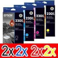 8 Pack Genuine Epson 220XL Ink Cartridge Set (2BK,2C,2M,2Y) High Yield