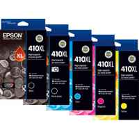 5 Pack Genuine Epson 410XL Ink Cartridge Set (1BK,1PBK,1C,1M,1Y) High Yield