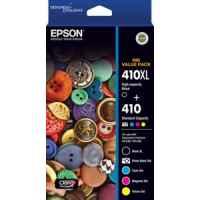1 x Genuine Epson 410XL Black + 4 Std Colours (PBK,C,M,Y) Ink Cartridge Value Pack Standard Yield