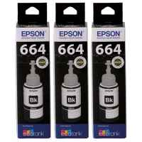 3 x Genuine Epson T664 Black Ink Bottle