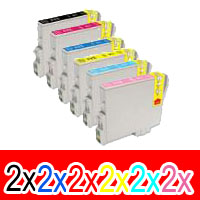 12 Pack Compatible Epson T0491 T0492 T0493 T0494 T0495 T0496 Ink Cartridge Set (2BK,2C,2M,2Y,2LC,2LM)