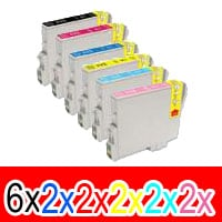 16 Pack Compatible Epson T0491 T0492 T0493 T0494 T0495 T0496 Ink Cartridge Set (6BK,2C,2M,2Y,2LC,2LM)