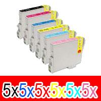 30 Pack Compatible Epson T0491 T0492 T0493 T0494 T0495 T0496 Ink Cartridge Set (5BK,5C,5M,5Y,5LC,5LM)