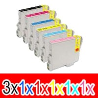 8 Pack Compatible Epson T0491 T0492 T0493 T0494 T0495 T0496 Ink Cartridge Set (3BK,1C,1M,1Y,1LC,1LM)